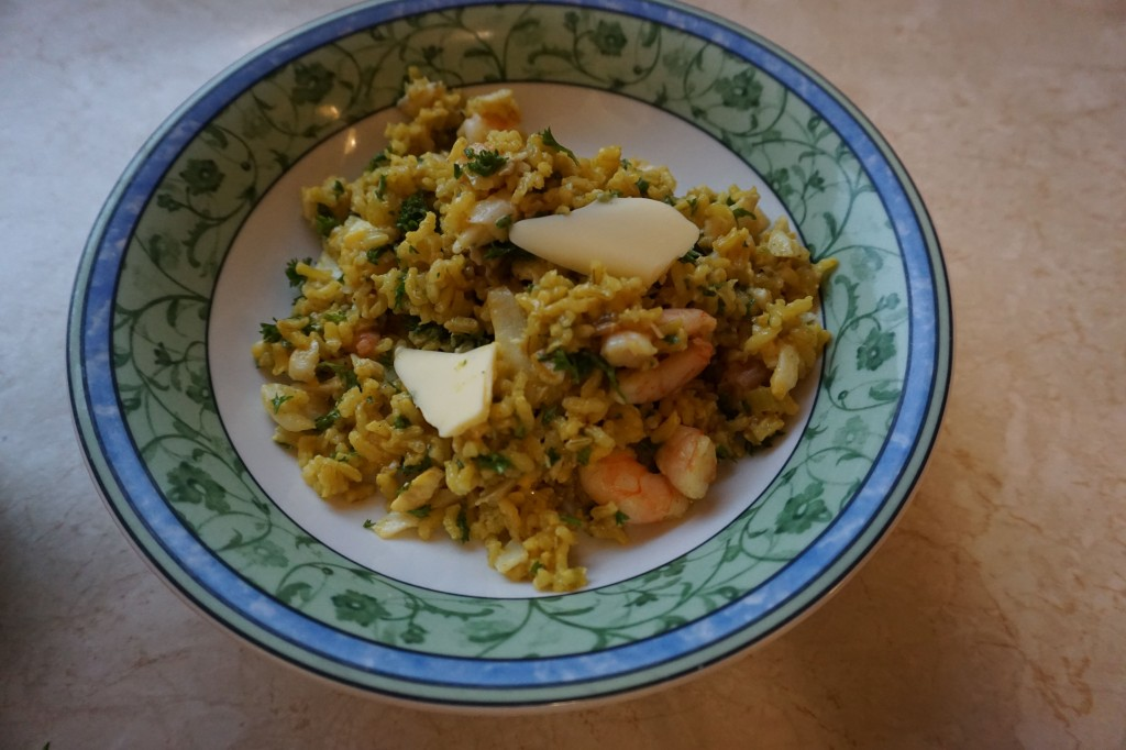 Kedgeree with smoked haddock, prawns and parsley