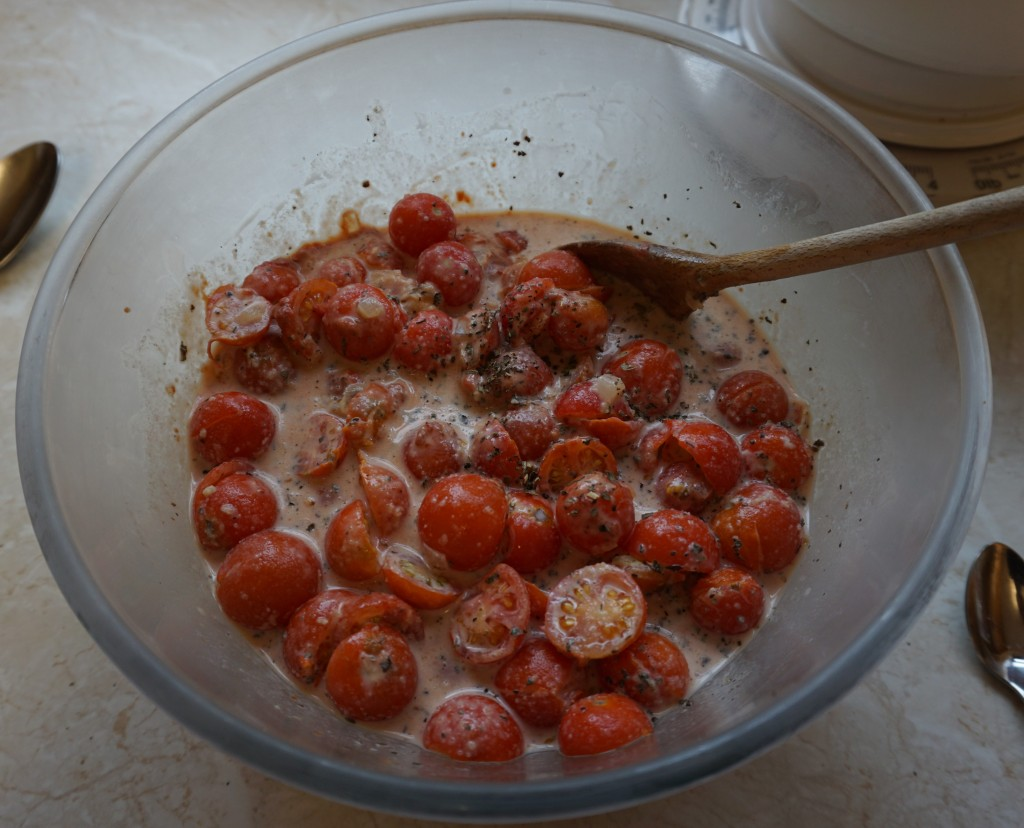 Tomatoes and other ingredients ready to cook